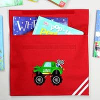 Personalised Monster Truck Red Book Bag - ideal for back to school gift, Kids, Birthday, Christmas
